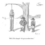 """Well, I'll be danged—he's got accordion boots."" - New Yorker Cartoon Premium Giclee Print by Zachary Kanin"