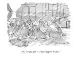 """Not tonight, hon — I had a yogasm in class."" - New Yorker Cartoon Premium Giclee Print by Michael Crawford"