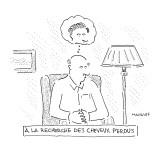 """A la Recherche de Cheveaux Perdu"". A bald man remembers his hair. - New Yorker Cartoon Premium Giclee Print by Robert Mankoff"