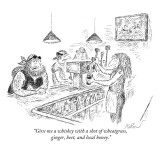 """Give me a whiskey with a shot of wheatgrass, ginger, beet, and local hone…"" - New Yorker Cartoon Premium Giclee Print by Edward Koren"