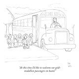 """At this time I'd like to welcome our gold-medallion passengers on board."" - New Yorker Cartoon Premium Giclee Print by Paul Noth"
