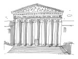 "Large municipal building with pediment reading ""Call 1-800-justice for all…"" - New Yorker Cartoon Premium Giclee Print by Michael Crawford"