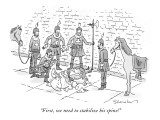"""""""First, we need to stabilize his spine!"""" - New Yorker Cartoon Premium Giclee Print by Danny Shanahan"""