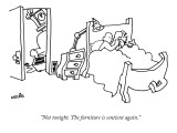 """Not tonight. The furniture is sentient again."" - New Yorker Cartoon Premium Giclee Print by Ariel Molvig"