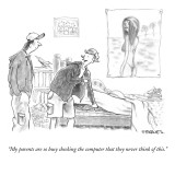 """My parents are so busy checking the computer that they never think of thi…"" - New Yorker Cartoon Premium Giclee Print by Pat Byrnes"