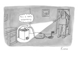 "A man catches his vacuum cleaner eating from the trash. The vacuum cleaner…"" - New Yorker Cartoon Premium Giclee Print by Zachary Kanin"