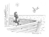 Noah looks surprisingly at dove carrying take-out container to his ark. - New Yorker Cartoon Premium Giclee Print by Danny Shanahan