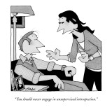 """You should never engage in unsupervised introspection."" - New Yorker Cartoon Premium Giclee Print by William Haefeli"