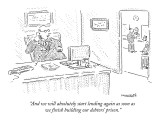 """""""And we will absolutely start lending again as soon as we finish building …"""" - New Yorker Cartoon Premium Giclee Print by Robert Mankoff"""