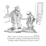 """Nope. Looks to me like a clear-cut case of suicide by somehow reaching ar…"" - New Yorker Cartoon Premium Giclee Print by Zachary Kanin"