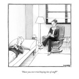 """Have you ever tried buying lots of stuff?"" - New Yorker Cartoon Premium Giclee Print by Matthew Diffee"