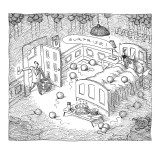 """Man comes home to """"surprise party"""" of his wife sleeping with another man. - New Yorker Cartoon Premium Giclee Print by John O'brien"""