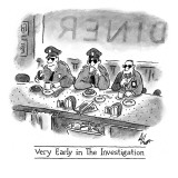 Very Early in the Investigation': three cops sip coffee and enjoy donuts … - New Yorker Cartoon Premium Giclee Print by Frank Cotham