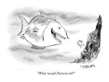 """""""What would Darwin do?"""" - New Yorker Cartoon Premium Giclee Print by Pat Byrnes"""