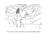 """Every new car comes with your own backyard drilling rights."" - New Yorker Cartoon Premium Giclee Print by Michael Shaw"