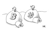 Two neighboring igloos have satellite dishes.  One has a Boston Red Sox lo… - New Yorker Cartoon Premium Giclee Print by John Kane