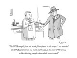 """The DNA sample from the mink fibres found in the suspect's car matched th…"" - New Yorker Cartoon Premium Giclee Print by Zachary Kanin"
