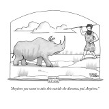 """""""Anytime you want to take this outside the diorama, pal. Anytime."""" - New Yorker Cartoon Premium Giclee Print by Steve Duenes"""