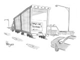"A sign on a truck reads, ""How's my texting?"" - New Yorker Cartoon Premium Giclee Print by John Klossner"