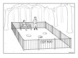 "Fenced park with sign that says ""Cat Run."" All the cats are sleeping. - New Yorker Cartoon Premium Giclee Print by Alex Gregory"