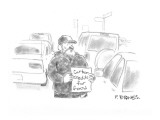 """Beggar holds sign """"carbon credits for food"""". - New Yorker Cartoon Premium Giclee Print by Pat Byrnes"""