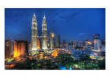 Flying Through the Night Skies of Kuala Lumpur Premium Photographic Print by Trey Ratcliff
