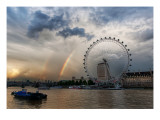 Rainbow over the London Eye Premium Photographic Print by Trey Ratcliff