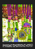 Imagine Tomoorrow's World (Green) Kunstdrucke von Friedensreich Hundertwasser