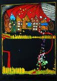 Houses in the Snow Prints by Friedensreich Hundertwasser