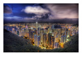 Hong Kong from the peak on a summer's night Premium Photographic Print by Trey Ratcliff