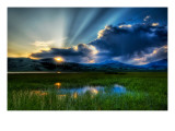 A soft summer night in the marsh Premium Photographic Print by Trey Ratcliff