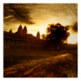Burning Through the Clouds - Angkor Wat in the Morning Premium Photographic Print by Trey Ratcliff