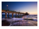 The Surf in LA as Night Passes Premium Photographic Print by Trey Ratcliff
