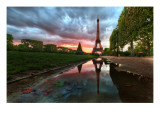 Reflections on the Eiffel Tower Premium Photographic Print by Trey Ratcliff