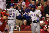 Texas Rangers v St Louis Cardinals, St Louis, MO - Oct. 27: Elvis Andrus and Craig Gentry Photographic Print by Jamie Squire