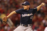 Milwaukee Brewers v St. Louis Cardinals - Playoffs Game Four, St Louis, MO - October 13: Randy Wolf Photographic Print by Jamie Squire