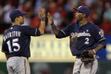 Brewers v St. Louis Cardinals - G. Four - Oct. 13: Jerry Hairston Jr. and Nyjer Morgan Photographic Print by Jamie Squire