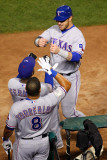 Rangers v Cardinals, St Louis, MO - Oct. 27: Josh Hamilton, Esteban German and Yorvit Torrealba Photographic Print by Dilip Vishwanat