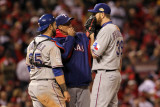 Texas Rangers v St Louis Cardinals, St Louis, MO - Oct. 27: Mike Maddux and Scott Feldman Photographic Print by Jamie Squire