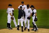 Texas Rangers v Detroit Tigers - Playoffs Game Five, Detroit, MI - October 13: Justin Verlander Photographic Print by Kevork Djansezian