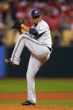Milwaukee Brewers v St. Louis Cardinals - Game Three, St Louis, MO - October 12: Yovani Gallardo Photographic Print by Dilip Vishwanat
