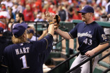 Brewers v St. Louis Cardinals - G. Four, St Louis, MO - Oct. 13: Randy Wolf and Corey Hart Photographic Print by Christian Petersen
