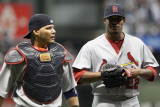 Cardinals v Milwaukee Brewers - G. Six, Milwaukee, WI - Oct. 16: Yadier Molina and Edwin Jackson Photographic Print by Christian Petersen