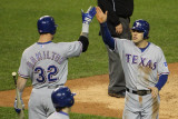 Texas Rangers v Detroit Tigers - Game Four, Detroit, MI - October 12: Ian Kinsler and Josh Hamilton Photographic Print by Leon Halip