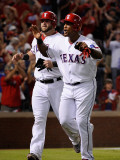 Detroit Tigers v Texas Rangers - Game Six, Arlington, TX - Oct. 15: Adrian Beltre and Mike Napoli Photographic Print by Kevork Djansezian