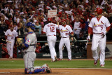 Texas Rangers v St Louis Cardinals, St Louis, MO - Oct. 27: Lance Berkman and Skip Schumaker Photographic Print by Ezra Shaw