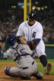 Texas Rangers v Detroit Tigers - Game Four, Detroit, MI - Oct. 12: Miguel Cabrera and Mike Napoli Photographic Print by Harry How