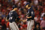 Brewers v St. Louis Cardinals - G. Four, St Louis, MO - Oct. 13: John Axford and Jonathan Lucroy Photographic Print by Jamie Squire