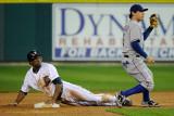 Texas Rangers v Detroit Tigers - Game Four, Detroit, MI - Oct. 12: Austin Jackson and Ian Kinsler Photographic Print by Kevork Djansezian