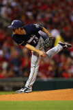 Milwaukee Brewers v St Louis Cardinals - Game Five, St Louis, MO - October 14: Zack Greinke Photographic Print by Dilip Vishwanat